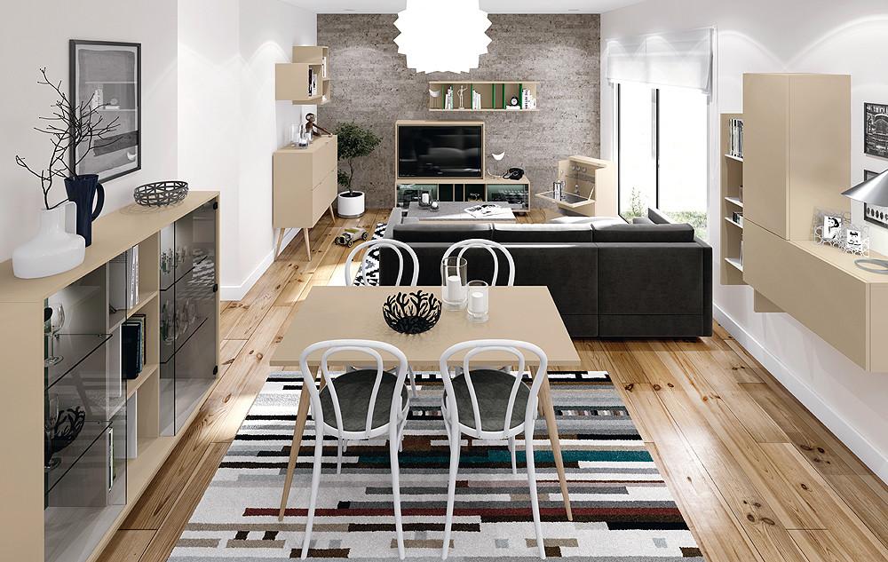 Ambiente de sal n de estilo moderno vintage - Salones con dos ambientes ...