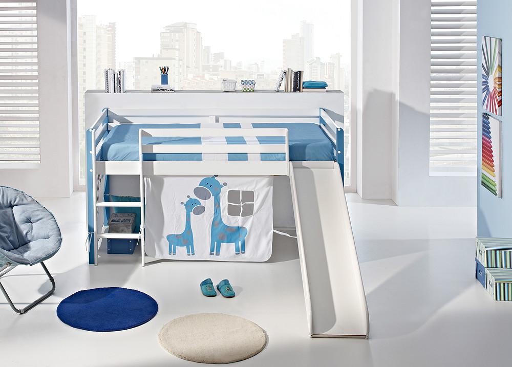 Cama juvenil con escalera y tobog n - Dormitorios infantiles con tobogan ...