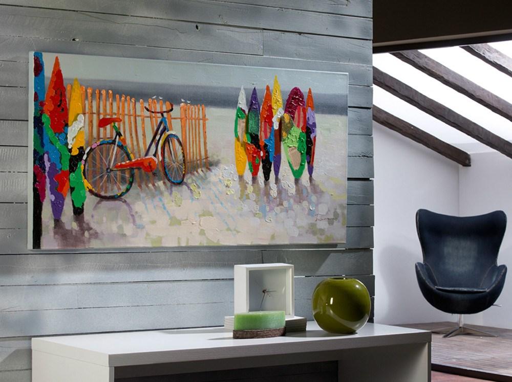 Cuadro con imagen de la playa de alegre colorido - Lienzos decorativos ...