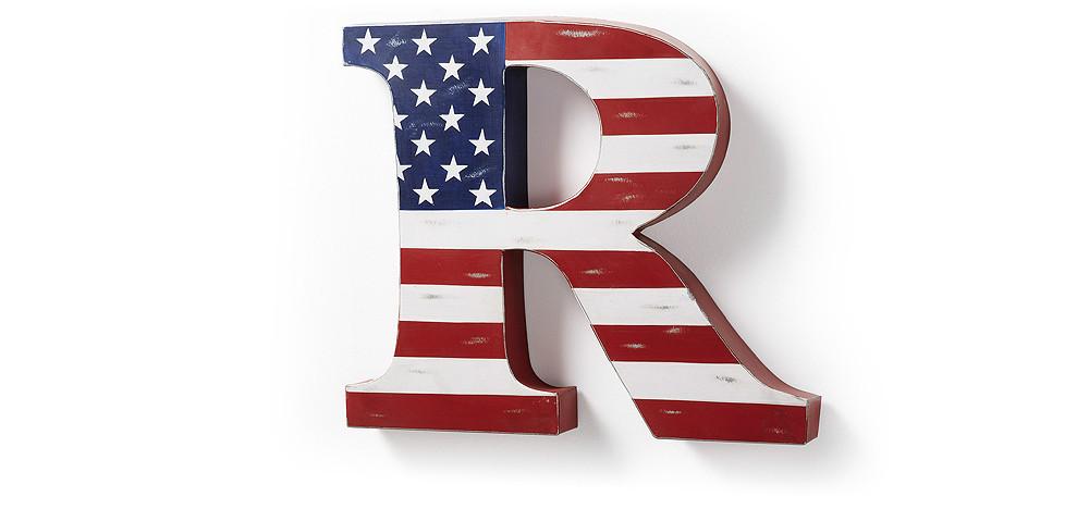 Letra decorativa bandera americana for Letras decoracion metal