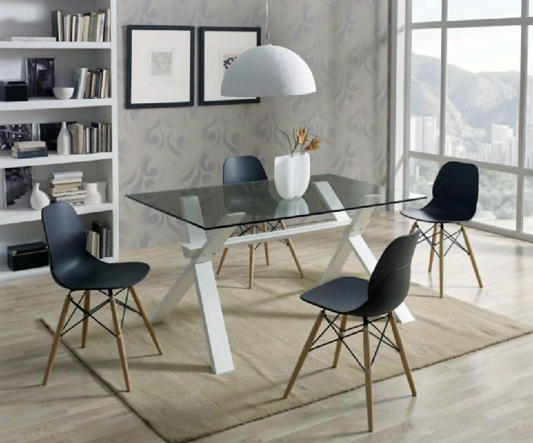 Mesa de comedor rectangular con cristal y haya for Mesa comedor haya