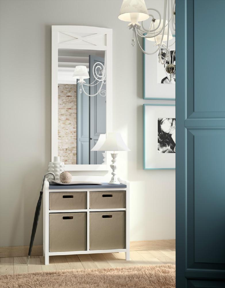 Mueble bajo con estantes y bucks de piel for Mueble auxiliar rustico