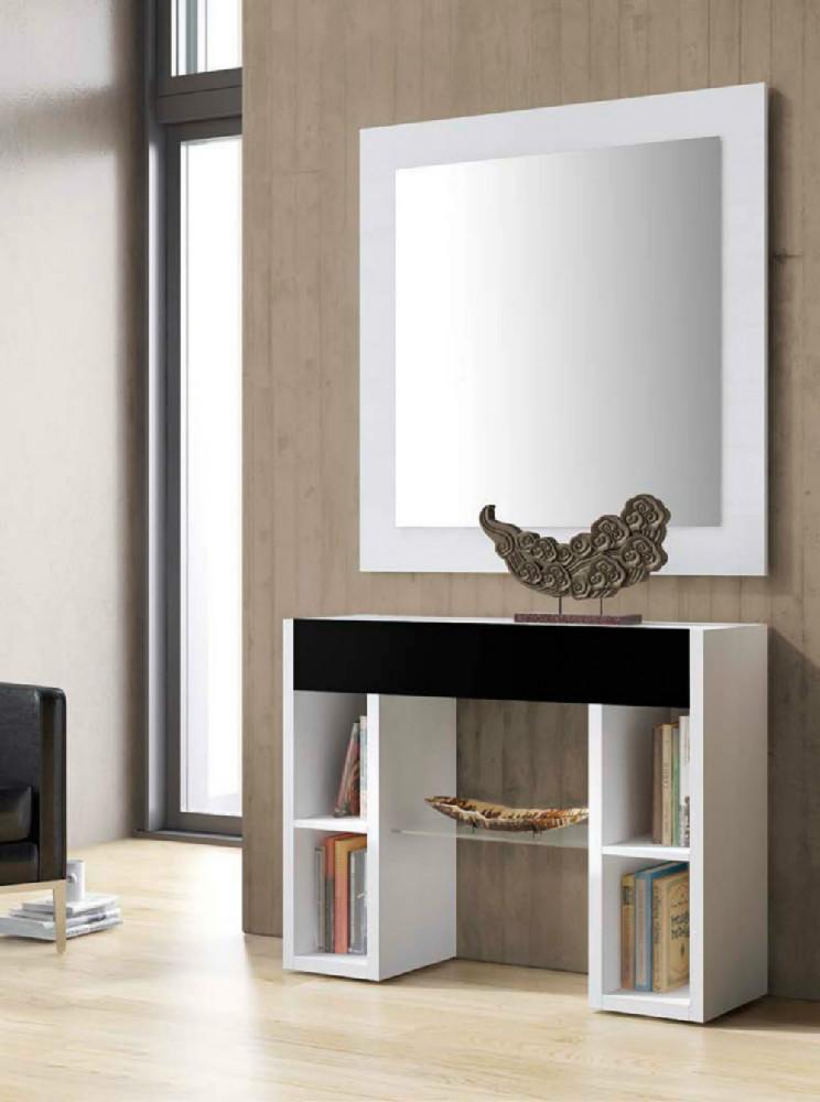 Recibidor de estilo moderno formado por espejo y consola - Espejos para recibidor ...
