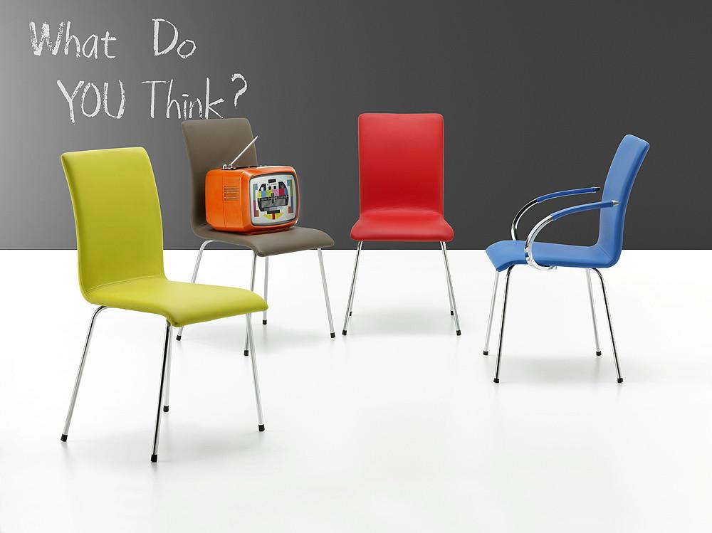 sillas de estilo moderno de colores con y sin ruedas con