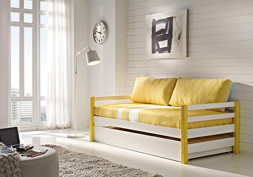 Cama nido juvenil con caj n y somier for Sofa cama nido 1 plaza