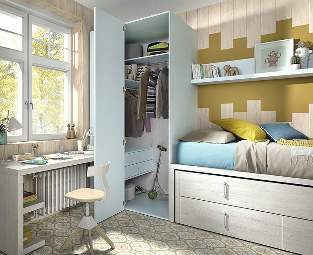 Composici n de dormitorio juvenil estilo moderno for Composicion dormitorio juvenil