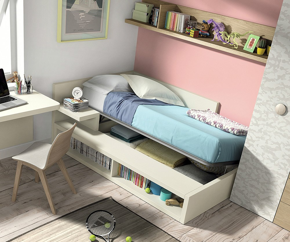 Composici n dormitorio juvenil for Dormitorio juvenil cama alta