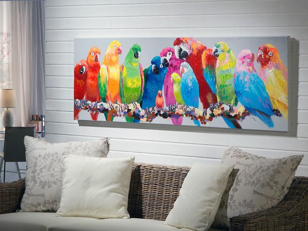 Pintura realizada en acr lico con imagen de loros - Como decorar un cuadro de madera ...