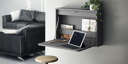 Mesa escritorio plegable con estante revistero interior para colgar en pared