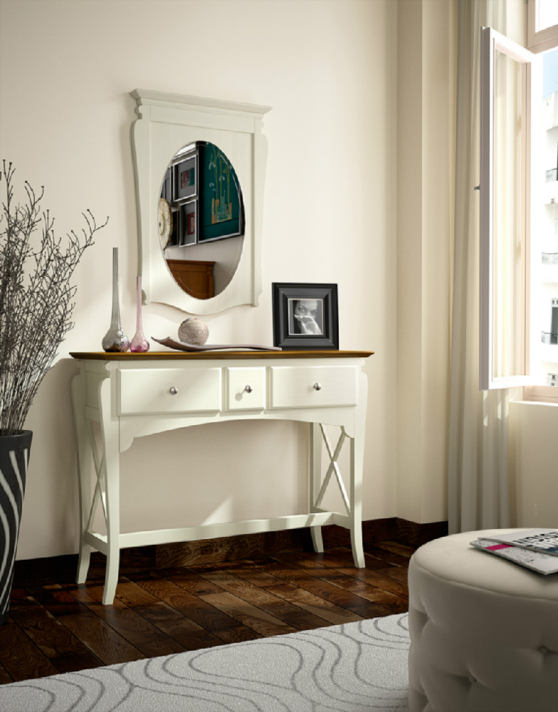 Espejo ovalado con marco de madera for Espejo ovalado de pie
