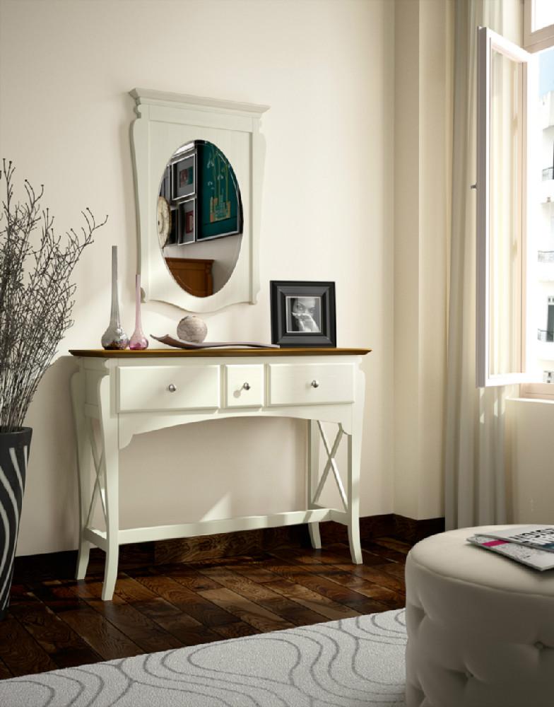 Espejo ovalado con marco de madera for Espejo ovalado madera