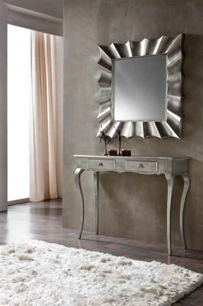 Espejo con marco en color plata for Espejos con marco color plata