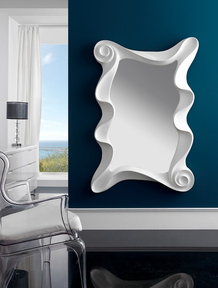 Espejo rectangular con marco en color plata y en color blanco for Espejo rectangular con marco