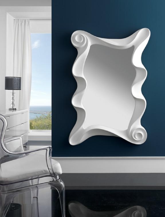 Espejo rectangular con marco en color plata y en color blanco for Espejos con marco color plata
