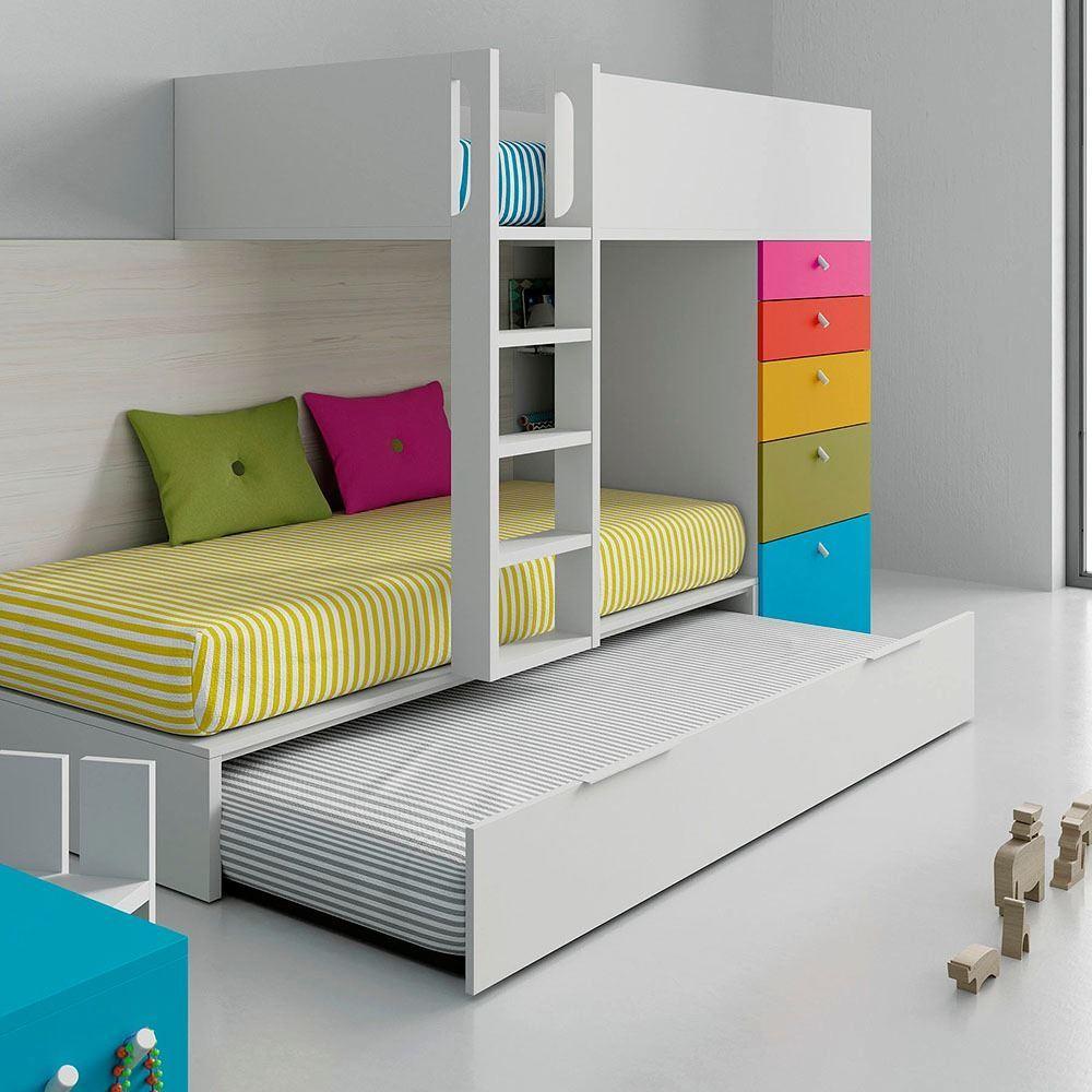 Litera tren con cama nido en color blanco combinado con - Literas lacadas en blanco ...