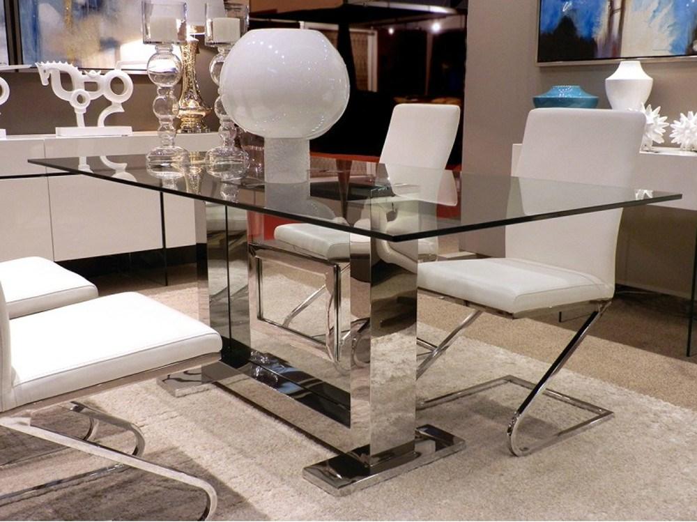 Mesa de comedor funchal rectangular en acero inoxidable pulido for Comodas modernas para comedor