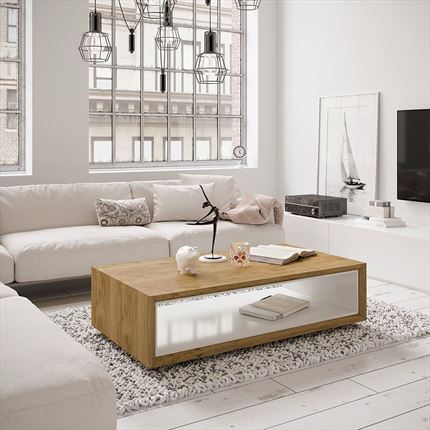 Mesa de centro rectangular en roble con hueco interior en blanco brillo