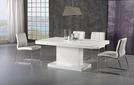f19d2b44f9c8 Mesa de comedor extensible, lacada en blanco alto brillo y tapa de cristal  blanco puro