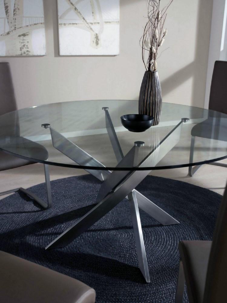 Mesa para el comedor redonda en cristal y acero