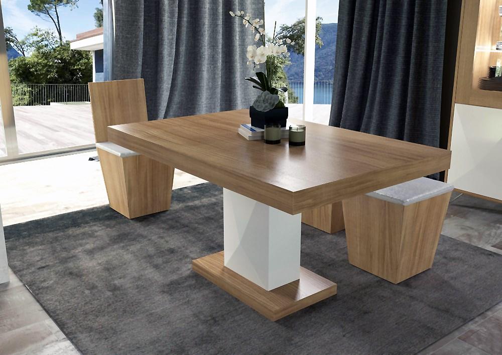 Mesa de comedor en roble con pie columna diamante - Mesas comedor originales ...
