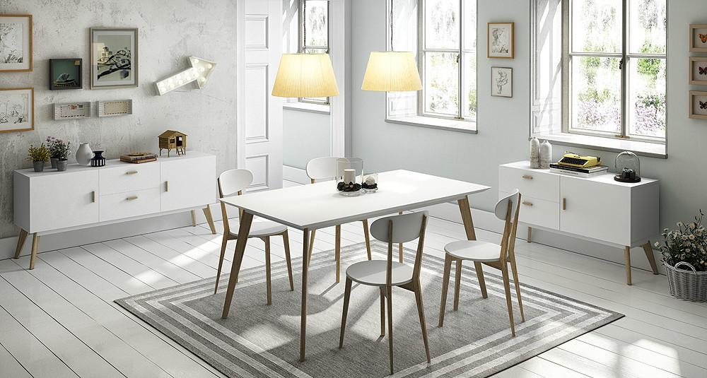 Mesa de comedor en roble y blanco satinado for Mesas de comedor estilo nordico