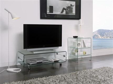 mesa de tv en cristal templado con ruedas
