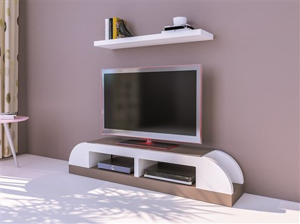 Mesa de TV y estante en blanco y arena.