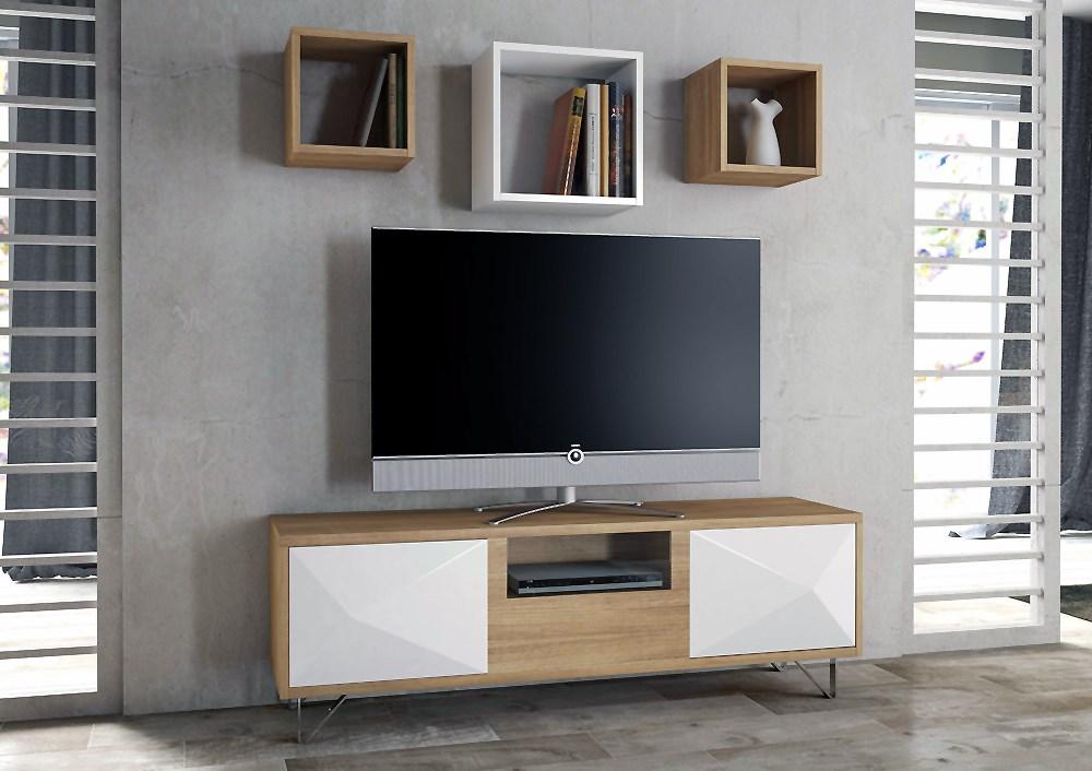 Composici n compuesta por mesa tv y tres cubos colgados - Mesa de television ...