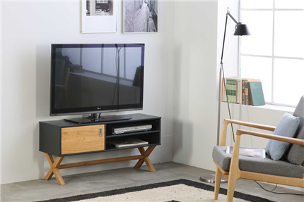 Mueble TV de estilo nórdico en madera de pino color gris antracita