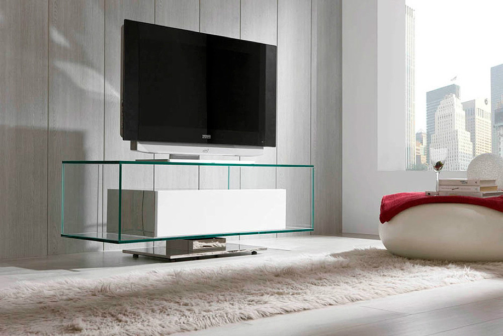 Mueble de tv de dise o for Mesa para tv con cajones
