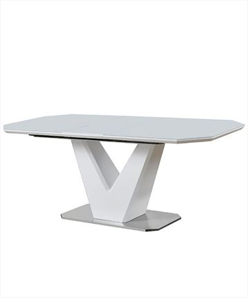 Mesa de comedor extensible en color blanco y base en acero