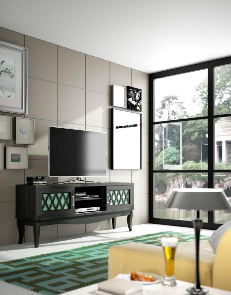 Mesa tv colonial negro humo y verde agua - Mueble tv colonial ...