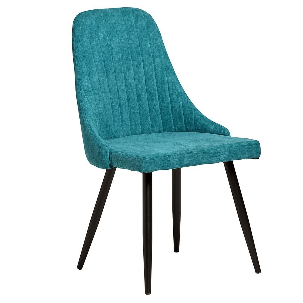 comedor turquesa y gris con sillas turquesa