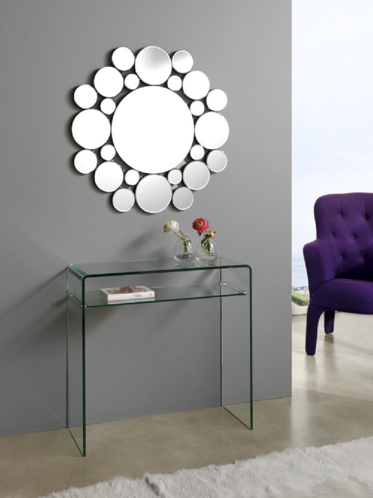 Recibidor de estilo moderno formado por espejo y consola for Espejos decorativos para recibidor
