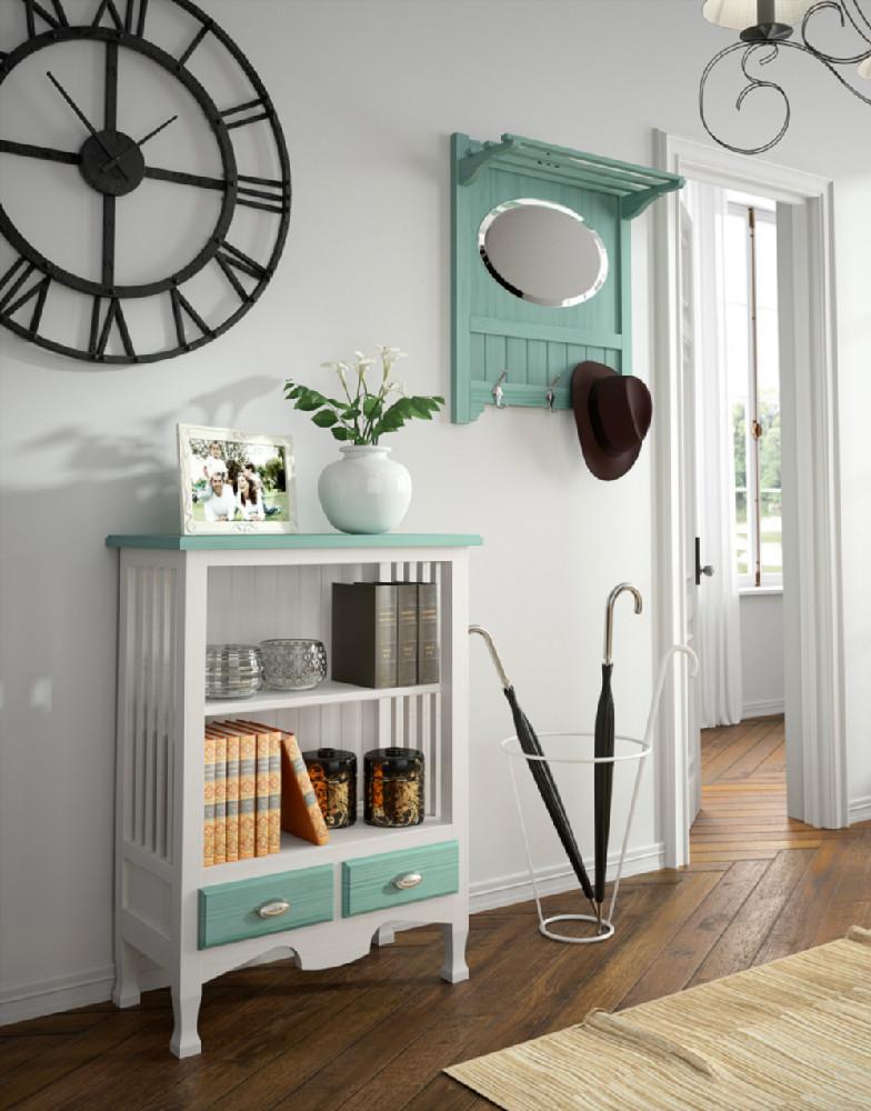 Recibidor de estilo r stico urbano formado por librero y for Mueble perchero recibidor