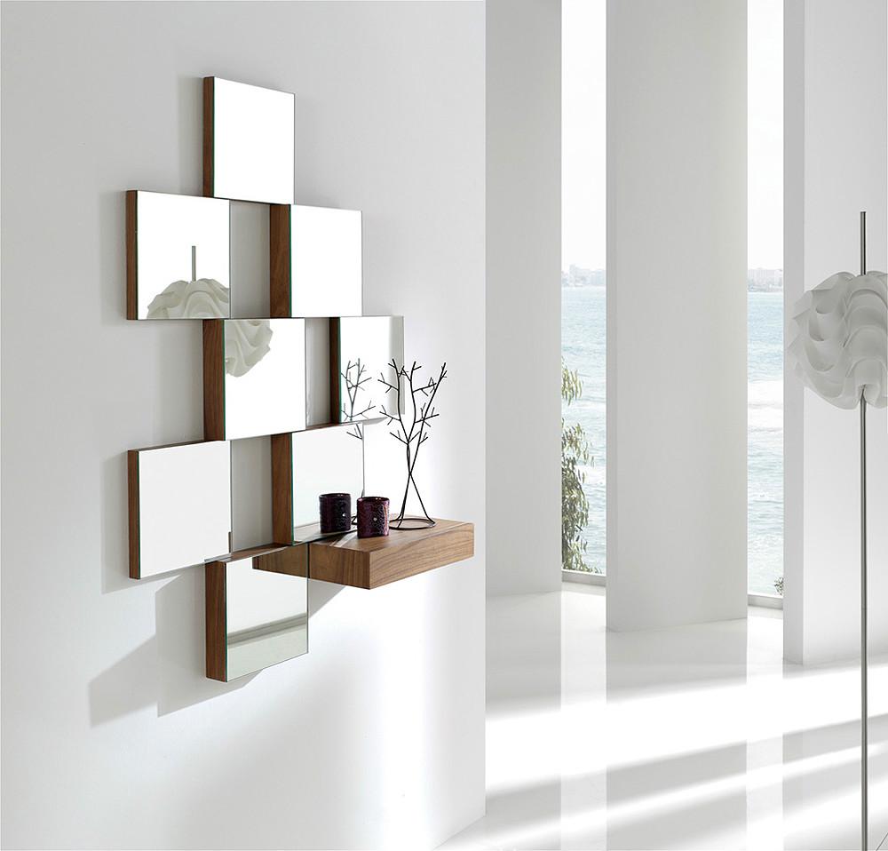 Mural decorativo con espejos y caj n for Marcos para espejos de sala