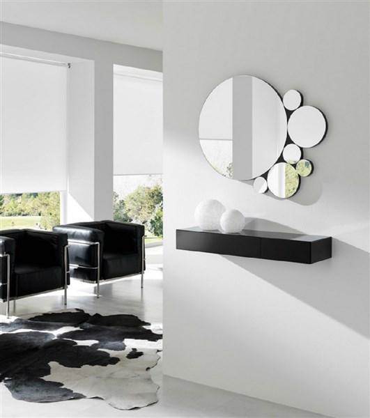 Recibidor de dise o formado por espejo y consola for Espejos de diseno para recibidor