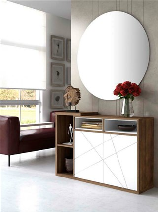 Recibidor de estilo moderno formado por espejo y consola - Espejo recibidor moderno ...