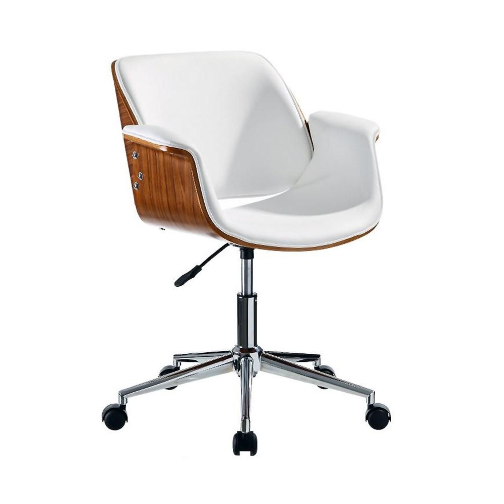 Silla con ruedas cuero y madera for Sillas de escritorio altas