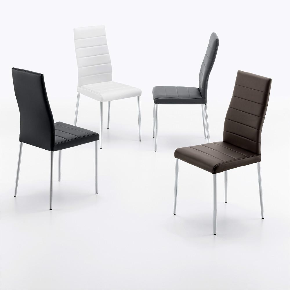 Sillas de estilo moderno tapizadas en polipiel y patas for Sillas estilo moderno